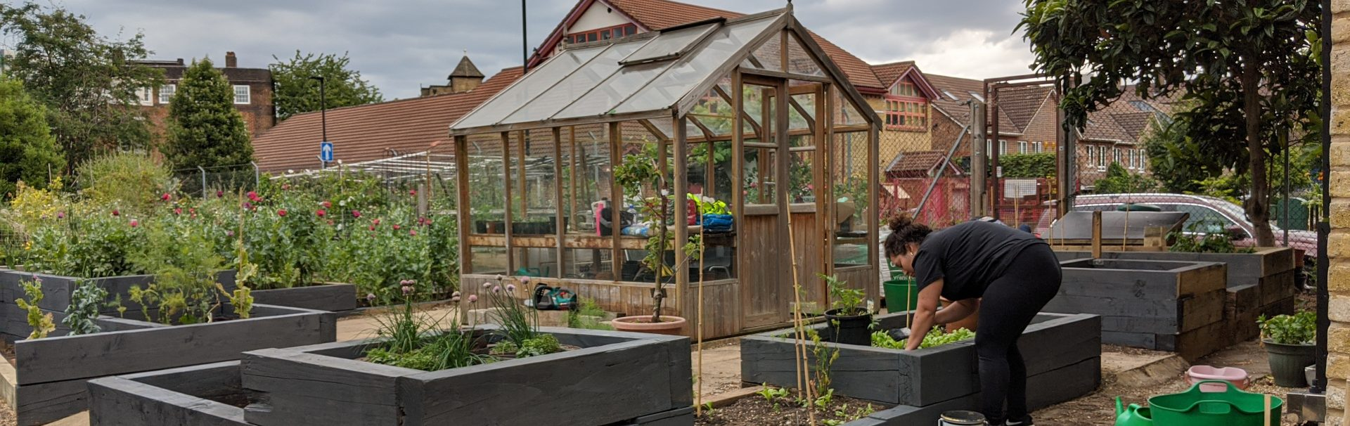 community garden with green house in center